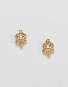 Золотистые серьги-гвоздики DesignB London - Золотой