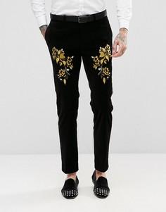 Черные бархатные облегающие брюки с вышивкой ASOS - Черный