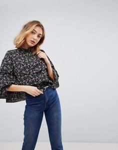 Блузка с цветочным принтом и оборками Walter Baker Marci - Черный