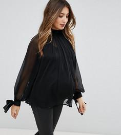 Свободная блузка с высоким воротником ASOS MATERNITY - Черный