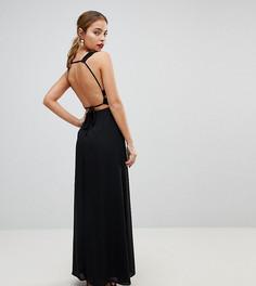 Платье макси с отделкой ASOS PETITE - Черный