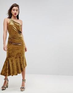 Бархатное платье миди на одно плечо с асимметричным краем ASOS - Золотой
