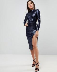 Платье миди с открытой спиной, высоким воротом и пайетками ASOS - Синий