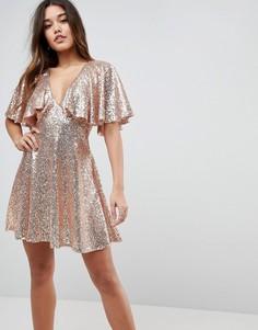 Кружевное платье мини с расклешенными рукавами и пайетками ASOS - Розовый