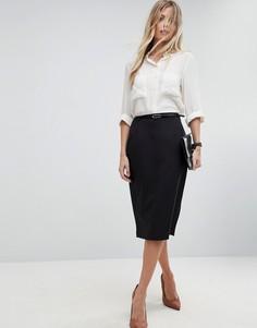 Удлиненная юбка-карандаш с поясом ASOS Tailored - Черный