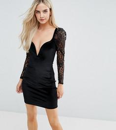 Бархатное облегающее платье с глубоким вырезом Boohoo Petite - Черный
