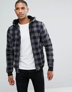 Флисовая куртка в клетку на молнии Brave Soul - Серый