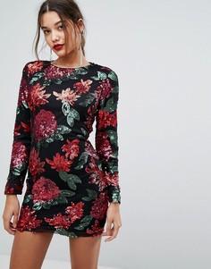 Облегающее платье мини с пайетками Boohoo - Красный
