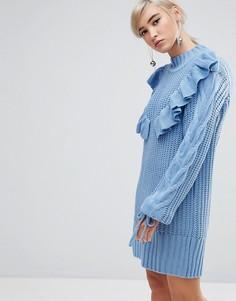 Платье-свитер с оборкой Lost Ink - Синий
