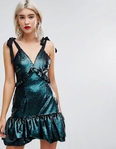 Платье с пайетками и оборками Lost Ink - Синий