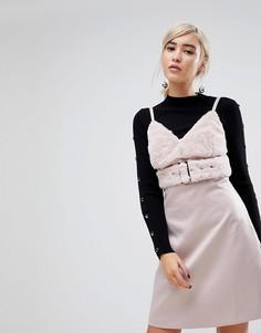 Платье из ткани под атлас на бретельках Lost Ink - Серый