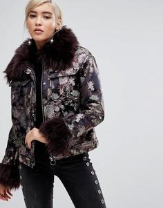 Парчовая куртка с эффектом металлик и искусственным мехом Lost Ink - Мульти