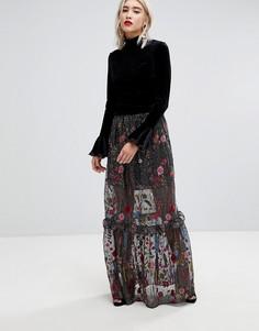 Броская юбка макси из премиум-кружева с вышивкой Lost Ink - Черный