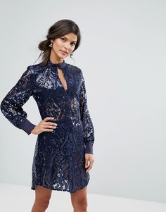 Платье с длинными рукавами и отделкой пайетками Closet - Синий