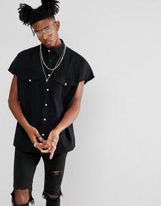 Черная джинсовая оверсайз-рубашка в стиле вестерн ASOS - Черный