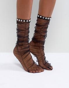 Присборенные носки с камнями ASOS x MARY BENSON - Черный
