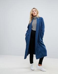Длинное пальто с отложным воротником Waven Anja - Темно-синий