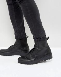 Черные кожаные ботинки на шнуровке ASOS - Черный