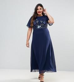Платье макси с декоративной отделкой Praslin - Темно-синий