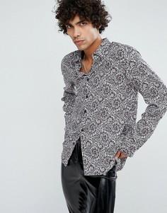 Рубашка классического кроя из вискозы с принтом пейсли ASOS - Белый