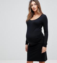 Платье из ткани на основе органического хлопка с длинными рукавами Mamalicious - Черный Mama.Licious