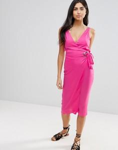 Пляжное платье миди с люверсами и завязками по бокам ASOS - Розовый