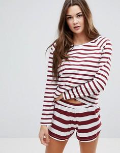 Пижамный комплект с шортами в бордовую полоску ASOS - Мульти