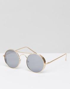 Круглые солнцезащитные очки с планкой Jeepers Peepers - Золотой