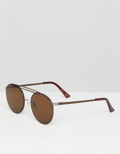 Коричневые круглые солнцезащитные очки Jeepers Peepers - Коричневый