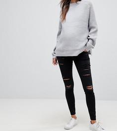 Черные джинсы скинни с завышенной талией и разрезами ASOS MATERNITY RIDLEY - Черный