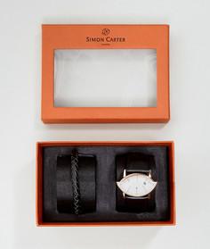 Подарочный набор из часов с кожаным ремешком и браслета Simon Carter WT2201 - Черный