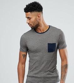 Футболка в полоску с контрастным карманом Selected Homme TALL - Темно-синий