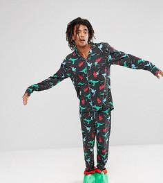 Новогодний пижамный комплект с принтом динозавров Chelsea Peers - Черный