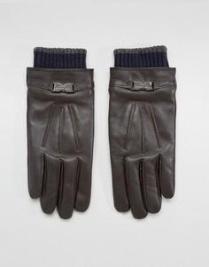 Кожаные перчатки Ted Baker Quiff - Коричневый