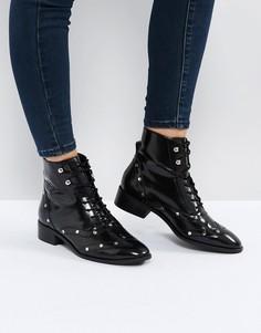 Кожаные ботинки на шнуровке ASOS AXIS - Черный