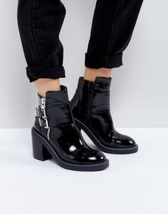 Лакированные кожаные полусапожки на каблуке ASOS ELABY - Черный
