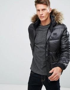 Дутая куртка с искусственным мехом на капюшоне Jack & Jones Core - Черный