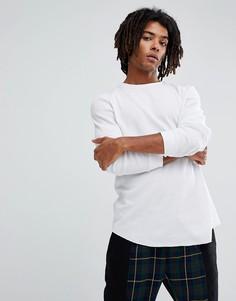 Белая длинная футболка с длинными рукавами и закругленным краем ASOS - Белый