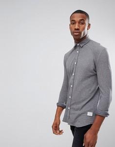 Приталенная трикотажная хлопковая рубашка Jack & Jones Core - Серый