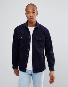 Темно-синяя вельветовая рубашка навыпуск ASOS - Темно-синий