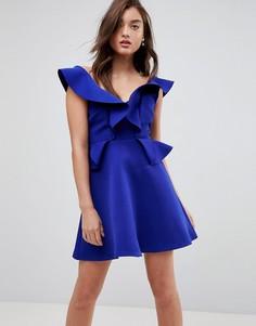 Платье мини А-силуэта с оборками River Island - Синий