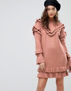 Платье-джемпер с оборкой River Island - Розовый