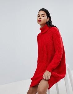 Вязаное платье-джемпер миди с узором косичка River Island - Красный