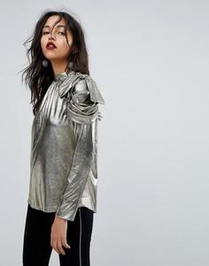 Блузка в стиле 80-х на одно плечо River Island - Золотой