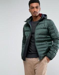 Зеленая дутая куртка-пуховик с капюшоном Tommy Hilfiger Chad - Зеленый