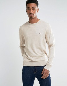 Джемпер кремового цвета из хлопка пима и кашемира с круглым вырезом Tommy Hilfiger - Кремовый