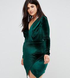 Бархатное платье с запахом на юбке Club L Plus - Зеленый