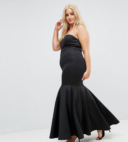Платье-бандо макси с асимметричной юбкой Club L Plus - Черный