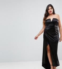 Платье-бандо макси с треугольным вырезом и разрезом Club L Plus - Черный