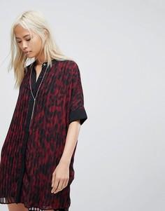 Платье-рубашка с леопардовым принтом Religion - Красный